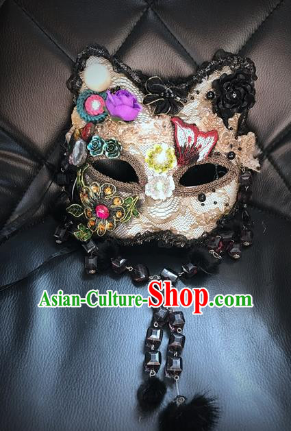Top Grade Chinese Theatrical Headdress Ornamental Masquerade Lace Mask, Brazilian Carnival Halloween Occasions Handmade Miami Debutante Crystal Cat Mask for Women
