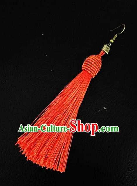 Top Grade Chinese Theatrical Headdress Ornamental Masquerade Earrings, Brazilian Carnival Halloween Occasions Handmade Miami Debutante Red Tassel Eardrop for Women