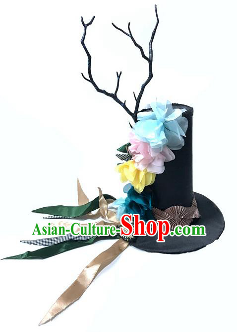 Top Grade Chinese Theatrical Headdress Ornamental Masquerade Flowers Top Hat, Brazilian Carnival Halloween Occasions Handmade Miami Headwear for Women