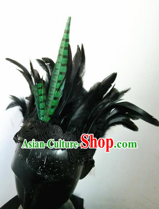 Top Grade Chinese Theatrical Headdress Ornamental Masquerade Green Feather Hair Accessories, Brazilian Carnival Halloween Occasions Handmade Miami Headwear for Women