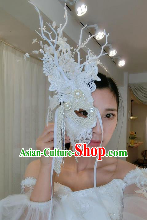Top Grade Chinese Theatrical Headdress Ornamental Masquerade Pearl Mask, Brazilian Carnival Halloween Occasions Handmade Miami White Lace Half Mask for Women
