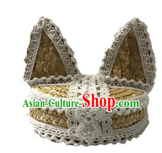 Top Grade Asian Headpiece Headdress Ornamental Cat Ears Hair Accessories, Brazilian Carnival Halloween Occasions Handmade Miami Lace Hat for Women