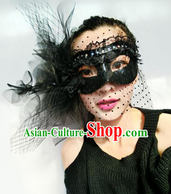Top Grade Chinese Theatrical Headdress Ornamental Black Veil Mask, Asian Traditional Halloween Occasions Handmade Debutante Feather Mask for Women