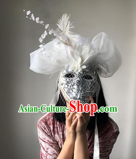 Top Grade Asian Headpiece Headdress Ornamental White Veil Mask, Brazilian Carnival Halloween Occasions Handmade Miami Cosplay Feather Mask for Women