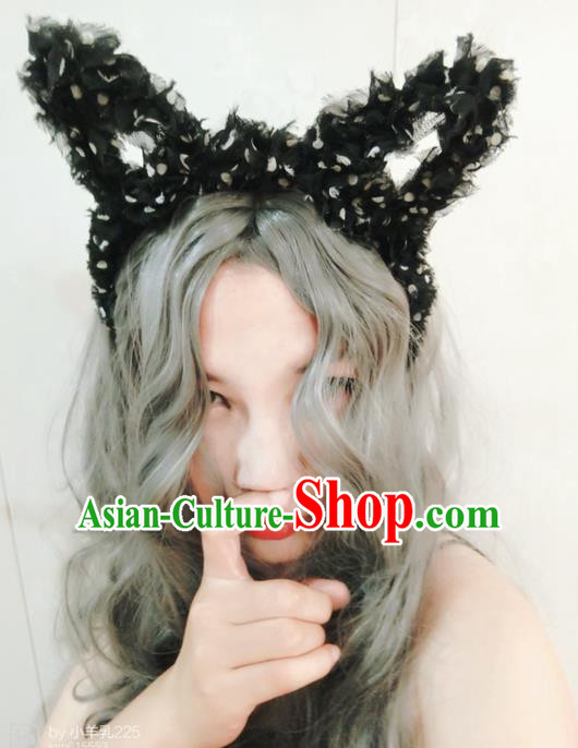 Top Grade Miami Deluxe Black Lace Hair Accessories Cat Ears Hair Clasp, Halloween Brazilian Carnival Occasions Handmade Headwear for Women