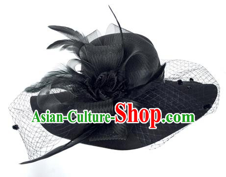 Top Grade Miami Deluxe Black Veil Hair Accessories Top Hat, Halloween Brazilian Carnival Occasions Handmade Feather Hat Headwear for Women