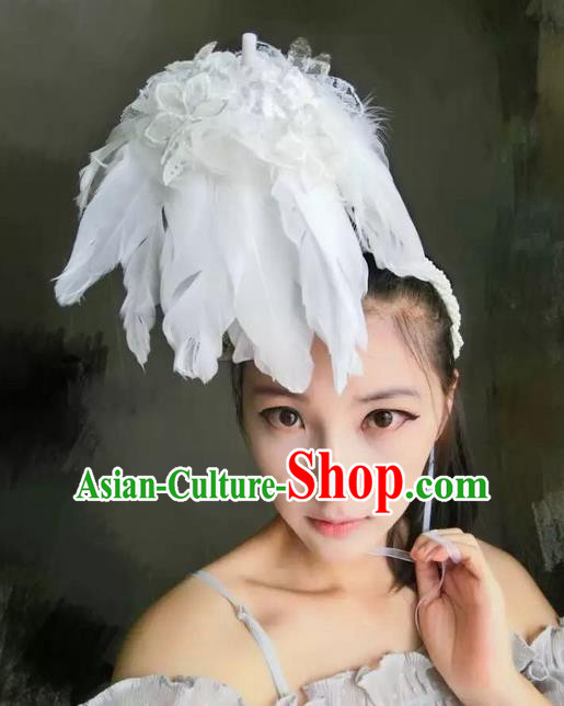 Top Grade Miami Deluxe White Feather Pearls Hair Accessories, Halloween Headdress Brazilian Carnival Occasions Handmade Headwear for Women