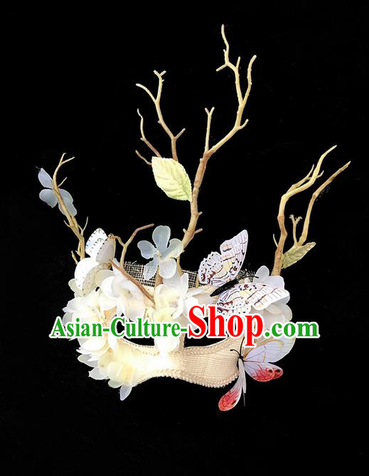 Top Grade Deluxe Baroque Headdress Accessories Butterfly Flowers Mask, Halloween Brazilian Carnival Occasions Model Show Handmade Mask for Women
