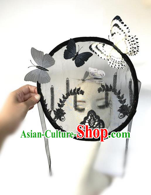 Top Grade Deluxe Asian Chinese Traditional Catwalks Headdress Veil Mask, Halloween Brazilian Carnival Occasions Model Show Handmade Butterfly Fan Mask for Women