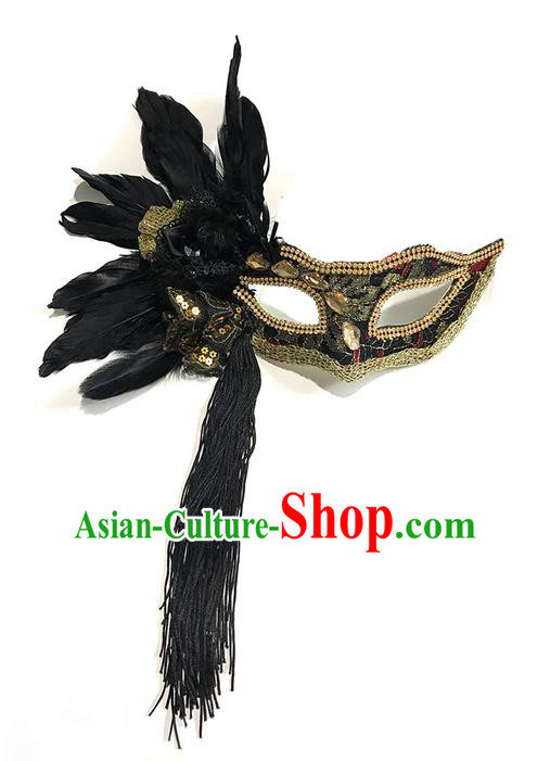 Top Grade Asian Headpiece Headdress Ornamental Feather Mask, Brazilian Carnival Halloween Occasions Handmade Miami Vintage Tassel Mask for Women