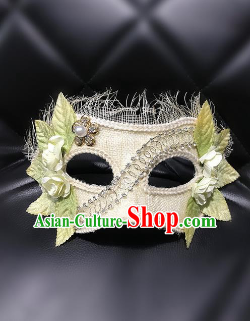 Top Grade Asian Headpiece Headdress Ornamental Cosplay Princess Mask, Brazilian Carnival Halloween Occasions Handmade Miami Vintage White Mask for Women