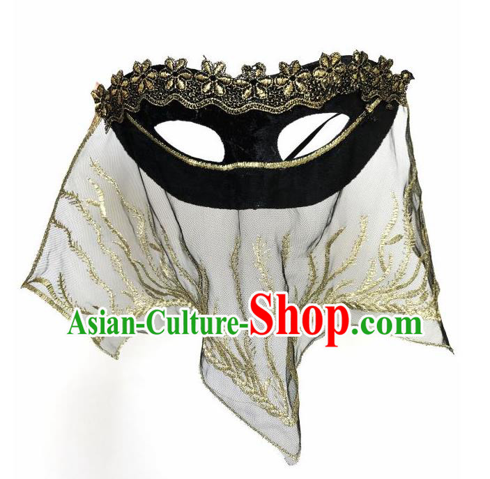 Top Grade Asian Headpiece Headdress Ornamental Cosplay Black Embroidery Mask, Brazilian Carnival Halloween Occasions Handmade Miami Vintage Veil Mask for Women