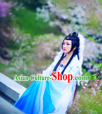 Traditional Ancient Chinese Young Lady Blue Dance Costume, Chinese Tang Dynasty  Fairy Dress Hanfu Embroidered Clothing for Women