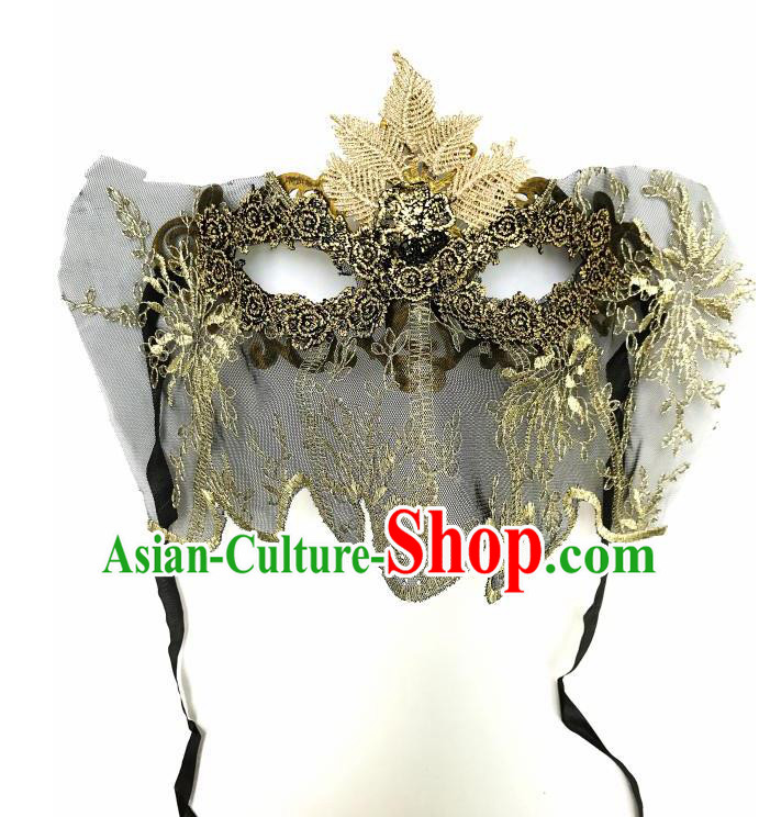 Top Grade Asian Headpiece Headdress Ornamental Cosplay Embroidery Mask, Brazilian Carnival Halloween Occasions Handmade Miami Vintage Golden Mask for Women