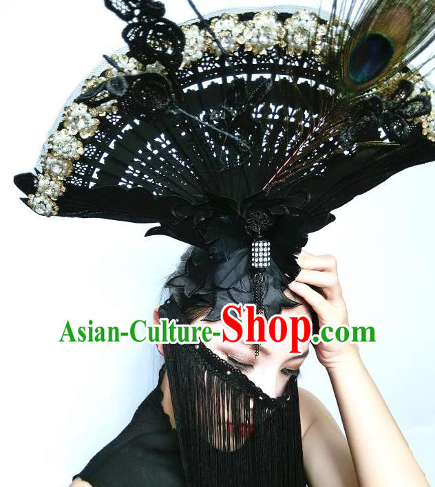 Top Grade Asian Headpiece Headdress Ornamental Cosplay Fan Hair Accessories, Brazilian Carnival Halloween Occasions Handmade Miami Vintage Lace Headwear for Women