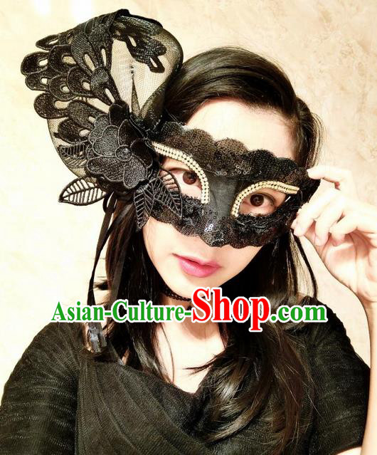 Top Grade Miami Deluxe Embroidery Lace Mask, Halloween White Feather Headdress Brazilian Carnival Occasions Handmade Black Face Mask for Women