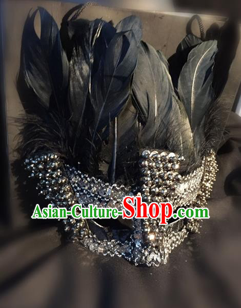 Top Grade Miami Deluxe Black Feather Mask, Halloween Feather Headdress Brazilian Carnival Occasions Handmade Crystal Face Mask for Men