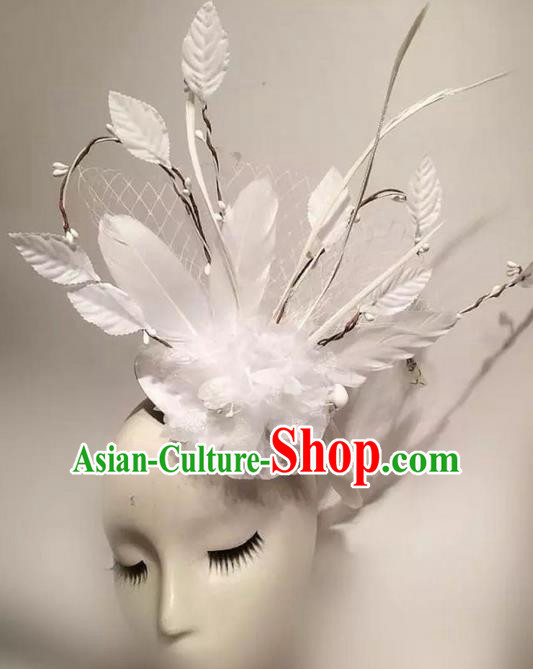 Top Grade Miami Deluxe White Feather Hair Accessories, Halloween Headdress Brazilian Carnival Occasions Handmade Headwear for Women