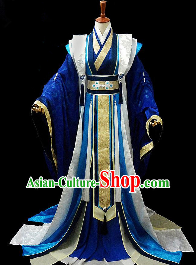 Traditional Ancient Chinese Nobility Childe Blue Costume Complete Set, Chinese Tang Dynasty Royal Prince Robes Hanfu Clothing for Men