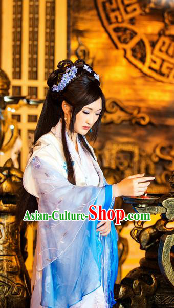 Traditional Ancient Chinese Noble Lady Fairy Dance Costume, Chinese Tang Dynasty Imperial Princess Dress Hanfu Embroidered Clothing for Women