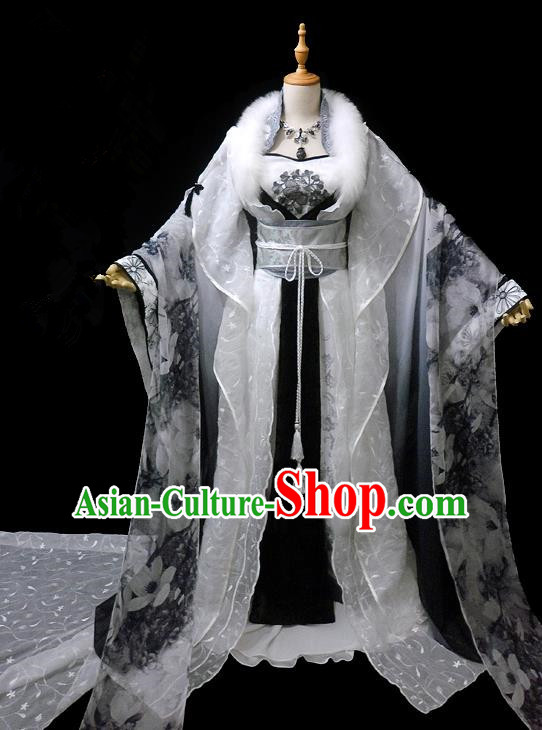 Traditional Ancient Chinese Imperial Concubine Fairy Costume, Chinese Tang Dynasty Princess Ink Painting Dress Hanfu Clothing for Women