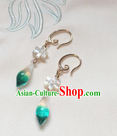 Asian Chinese Traditional Headdress Green Crystal Tassel Earrings, China Ancient Handmade Bride Hanfu Eardrop for Women