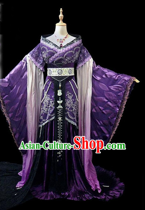 Traditional Ancient Chinese Female Embroidered Costume, Chinese Tang Dynasty Princess Purple Dress Hanfu Clothing for Women