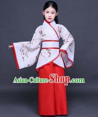 Traditional Ancient Chinese Imperial Princess Printing Costume, Children Elegant Hanfu Clothing Chinese Han Dynasty Red Curve Bottom Dress Clothing for Kids