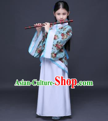 Traditional Ancient Chinese Imperial Princess Printing Costume, Children Elegant Hanfu Clothing Chinese Han Dynasty Blue Curve Bottom Dress Clothing for Kids
