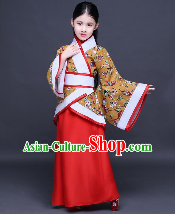 Traditional Ancient Chinese Imperial Princess Embroidery Costume, Children Elegant Hanfu Clothing Chinese Han Dynasty Golden Curve Bottom Dress Clothing for Kids
