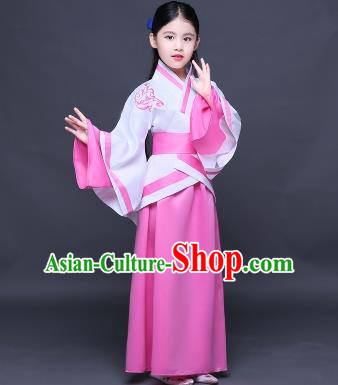 Traditional Ancient Chinese Imperial Princess Fairy Embroidery Costume, Children Elegant Hanfu Clothing Han Dynasty Pink Curve Bottom Dress Clothing for Kids