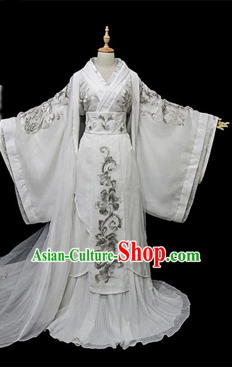 Traditional Ancient Chinese Female Embroidered Costume, Chinese Han Dynasty Imperial Fairy White Dress Hanfu Clothing for Women