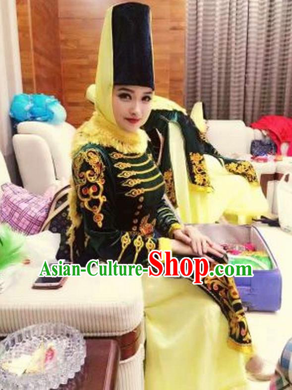 Traditional Chinese Uyghur Nationality Dance Costume, Folk Dance Ethnic Dress, Chinese Minority Nationality Uigurian Dance Clothing for Women