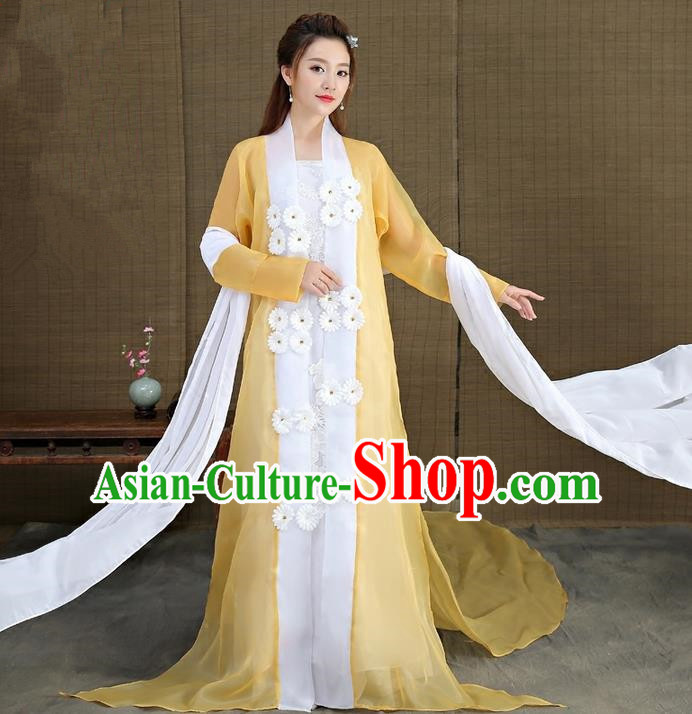 Traditional Asian Chinese Ancient Imperial Princess Costume, China Elegant Hanfu Clothing Ming Dynasty Noble Lady Embroidered Tailing Dress Clothing