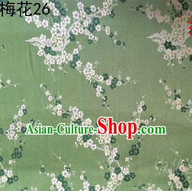 Asian Chinese Traditional Embroidery White Plum Blossom Light Green Silk Fabric, Top Grade Brocade Embroidered Tang Suit Hanfu Dress Fabric Cheongsam Cloth Material