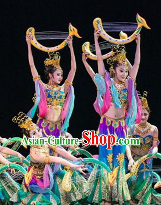 Traditional Chinese Classical Dance Dunhuang Flying apsaras Dance Costume, Folk Dance Drum Dance Uniform Yangko Green Clothing Complete Set for Women