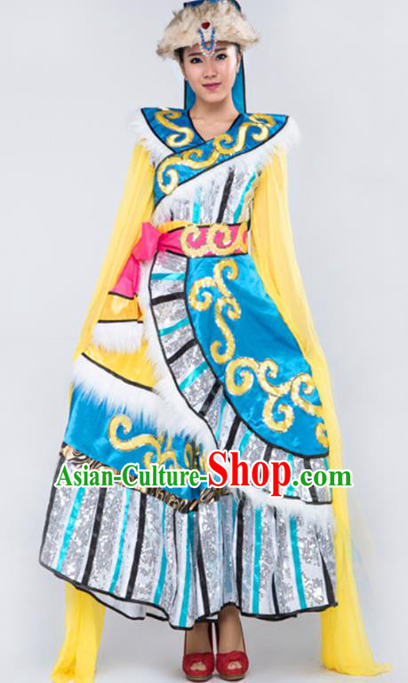 Traditional Chinese Zang Nationality Dancing Costume, Tibetan Female Folk Clothing Embroidery Dress for Women
