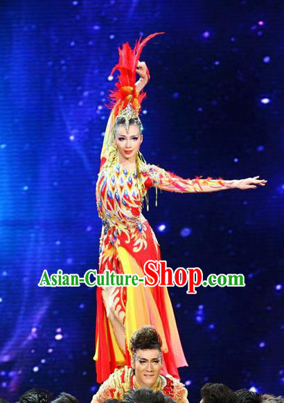 Traditional Chinese Dai Nationality Peacock Dance Costume, Folk Dance Ethnic Costume, Chinese Minority Nationality Dancing Costume for Women
