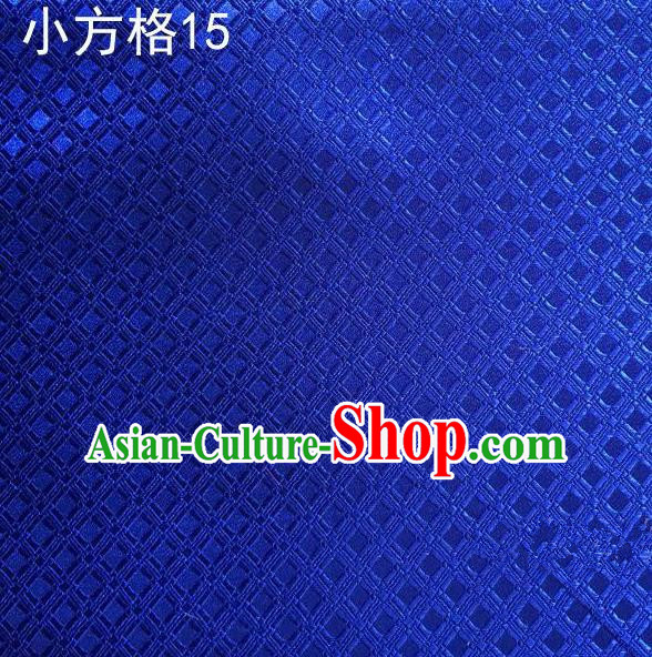 Asian Chinese Traditional Embroidery Small Check Royalblue Silk Fabric, Top Grade Arhat Bed Brocade Tang Suit Hanfu Tibetan Dress Fabric Cheongsam Cloth Material