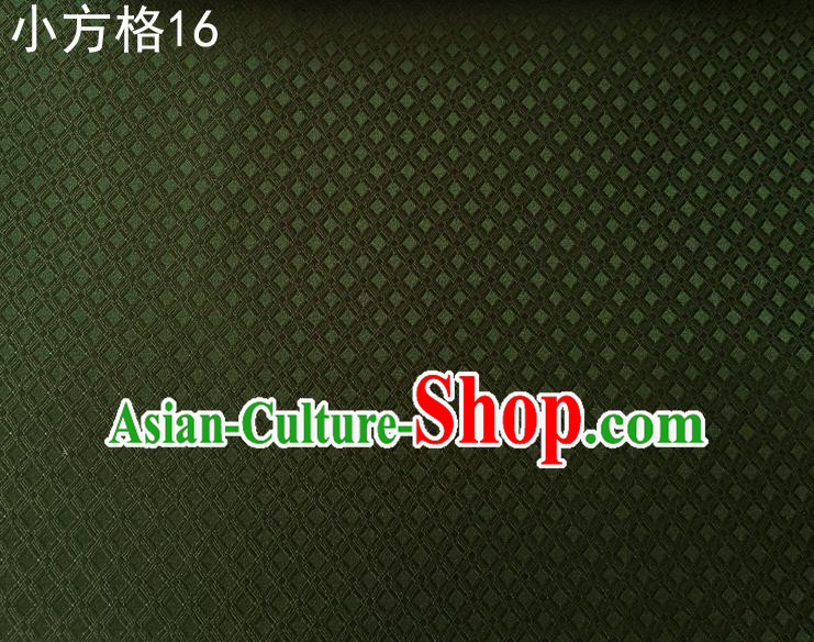 Asian Chinese Traditional Embroidery Small Check Olive Green Silk Fabric, Top Grade Arhat Bed Brocade Tang Suit Hanfu Tibetan Dress Fabric Cheongsam Cloth Material