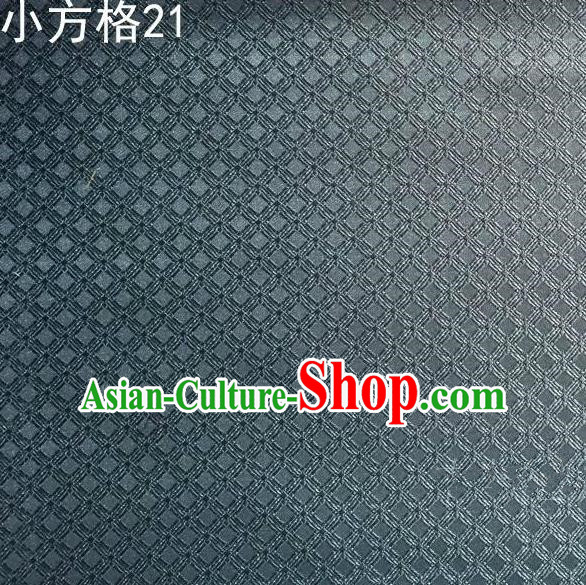 Asian Chinese Traditional Embroidery Small Check Grey Silk Fabric, Top Grade Arhat Bed Brocade Tang Suit Hanfu Tibetan Dress Fabric Cheongsam Cloth Material