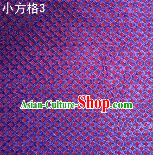 Asian Chinese Traditional Embroidery Small Check Purple Silk Fabric, Top Grade Arhat Bed Brocade Tang Suit Hanfu Tibetan Dress Fabric Cheongsam Cloth Material