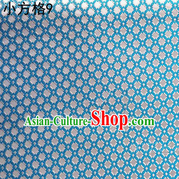 Asian Chinese Traditional Embroidery Small Check Light Blue Silk Fabric, Top Grade Arhat Bed Brocade Tang Suit Hanfu Tibetan Dress Fabric Cheongsam Cloth Material