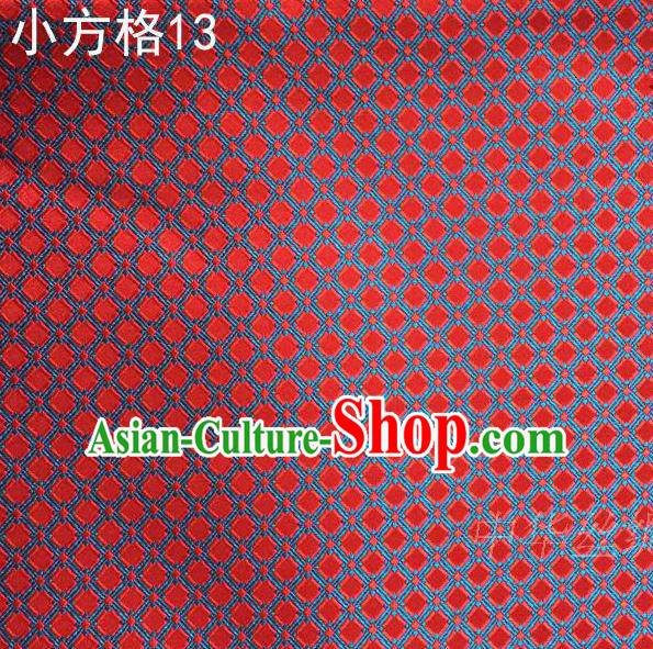 Asian Chinese Traditional Embroidery Red Small Check Silk Fabric, Top Grade Arhat Bed Brocade Tang Suit Hanfu Tibetan Dress Fabric Cheongsam Cloth Material