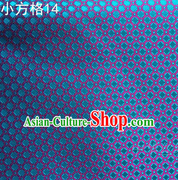 Asian Chinese Traditional Embroidery Blue Small Check Silk Fabric, Top Grade Arhat Bed Brocade Tang Suit Hanfu Tibetan Dress Fabric Cheongsam Cloth Material