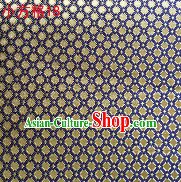 Asian Chinese Traditional Embroidery Yellow Small Check Silk Fabric, Top Grade Arhat Bed Brocade Tang Suit Hanfu Tibetan Dress Fabric Cheongsam Cloth Material