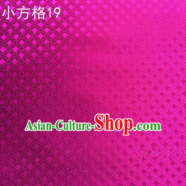 Asian Chinese Traditional Embroidery Small Check Rosy Silk Fabric, Top Grade Arhat Bed Brocade Tang Suit Hanfu Tibetan Dress Fabric Cheongsam Cloth Material
