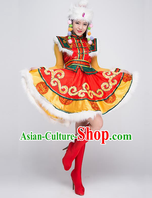 Traditional Chinese Mongol Nationality Dancing Costume, Mongols Female Folk Dance Ethnic Pleated Skirt, Chinese Mongolian Minority Nationality Embroidery Dress for Women