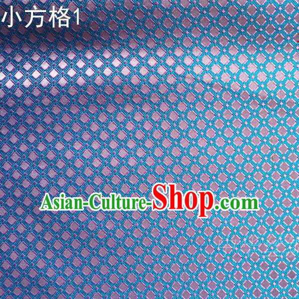 Asian Chinese Traditional Embroidery Pink Small Check Blue Silk Fabric, Top Grade Arhat Bed Brocade Tang Suit Hanfu Tibetan Dress Fabric Cheongsam Cloth Material