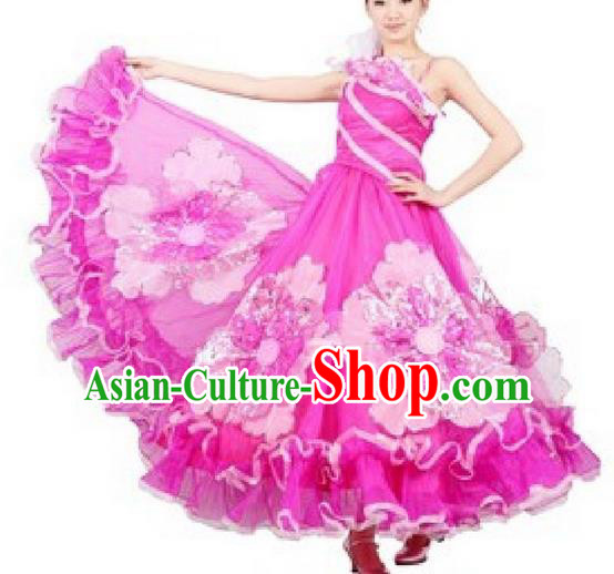 Chinese Classic Stage Performance Dance Costumes, Opening Dance Competition Pink Dress, Classic Big Swing Dance Clothing for Women